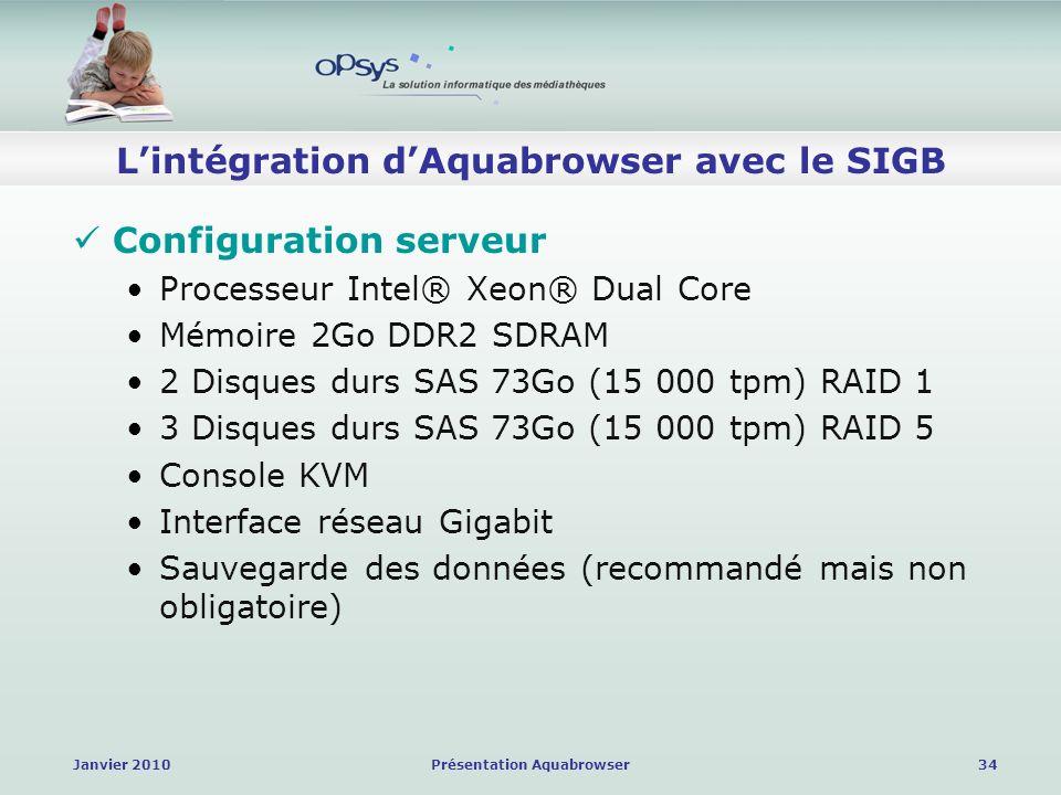 Janvier 2010Présentation Aquabrowser34 Lintégration dAquabrowser avec le SIGB Configuration serveur Processeur Intel® Xeon® Dual Core Mémoire 2Go DDR2 SDRAM 2 Disques durs SAS 73Go (15 000 tpm) RAID 1 3 Disques durs SAS 73Go (15 000 tpm) RAID 5 Console KVM Interface réseau Gigabit Sauvegarde des données (recommandé mais non obligatoire)