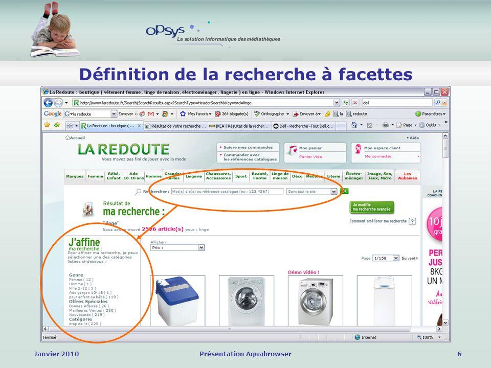 Janvier 2010Présentation Aquabrowser7 Définition de la recherche à facettes Et bien dautres … Paru-vendu Amazon Darty Dell Vertbaudet Priceminister LDLC Castorama Ikéa Etc.