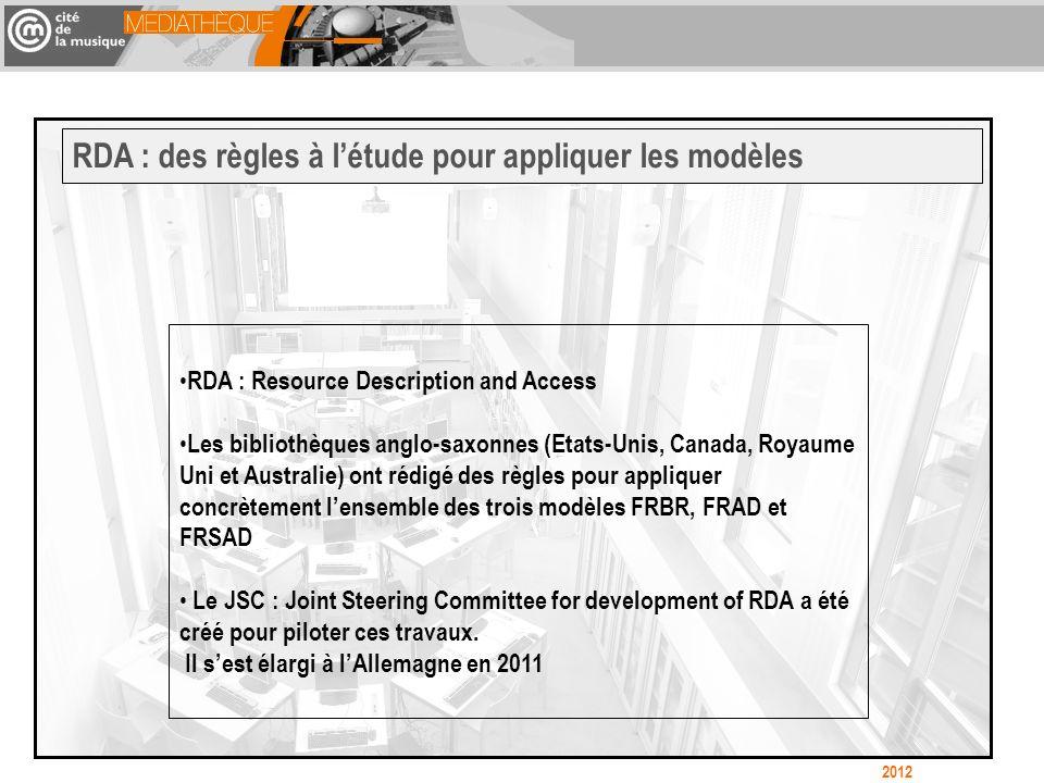 RDA : Resource Description and Access Les bibliothèques anglo-saxonnes (Etats-Unis, Canada, Royaume Uni et Australie) ont rédigé des règles pour appliquer concrètement lensemble des trois modèles FRBR, FRAD et FRSAD Le JSC : Joint Steering Committee for development of RDA a été créé pour piloter ces travaux.