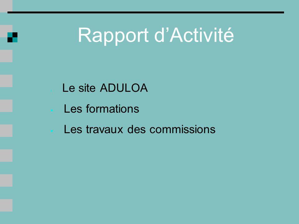 Rapport dActivité Le site ADULOA Les formations Les travaux des commissions