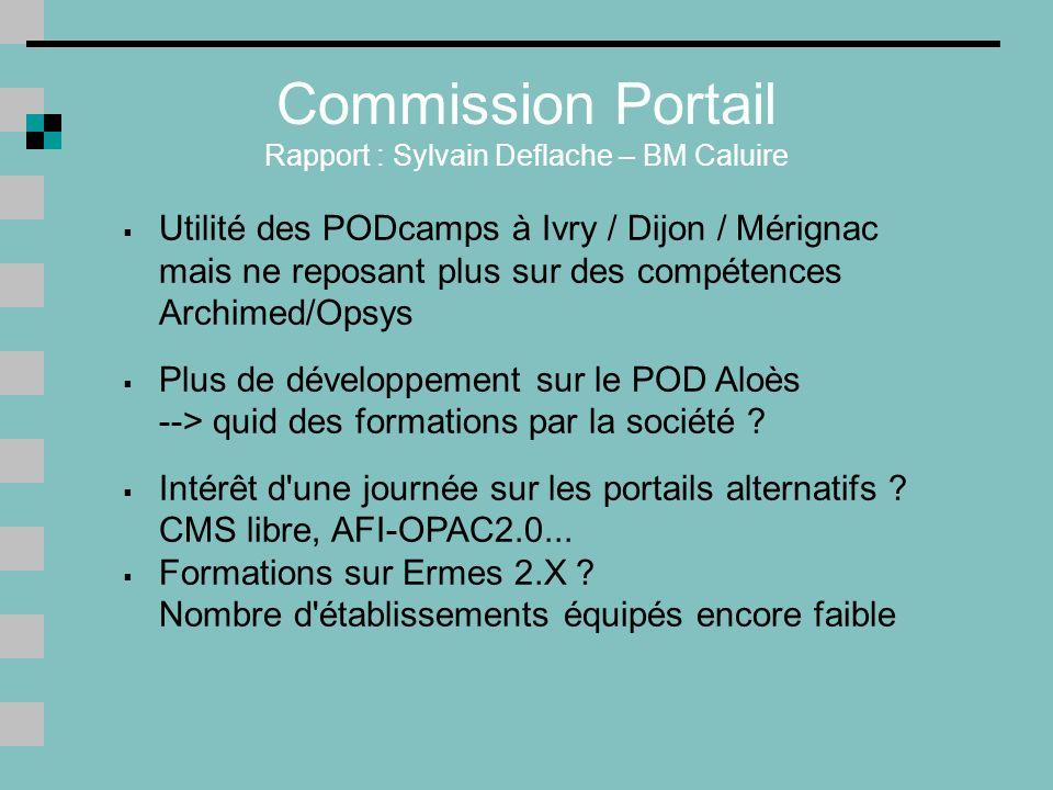 Commission Portail Rapport : Sylvain Deflache – BM Caluire Utilité des PODcamps à Ivry / Dijon / Mérignac mais ne reposant plus sur des compétences Archimed/Opsys Plus de développement sur le POD Aloès --> quid des formations par la société .