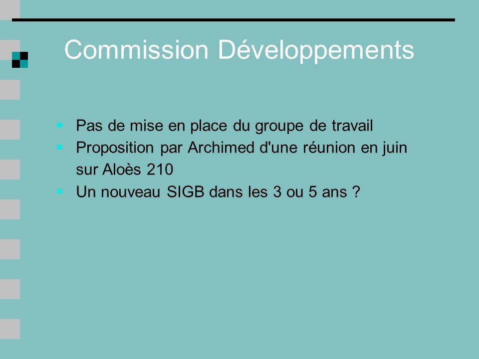 Commission Développements Pas de mise en place du groupe de travail Proposition par Archimed d une réunion en juin sur Aloès 210 Un nouveau SIGB dans les 3 ou 5 ans ?