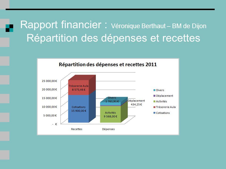 Rapport financier : Véronique Berthaut – BM de Dijon Répartition des dépenses et recettes