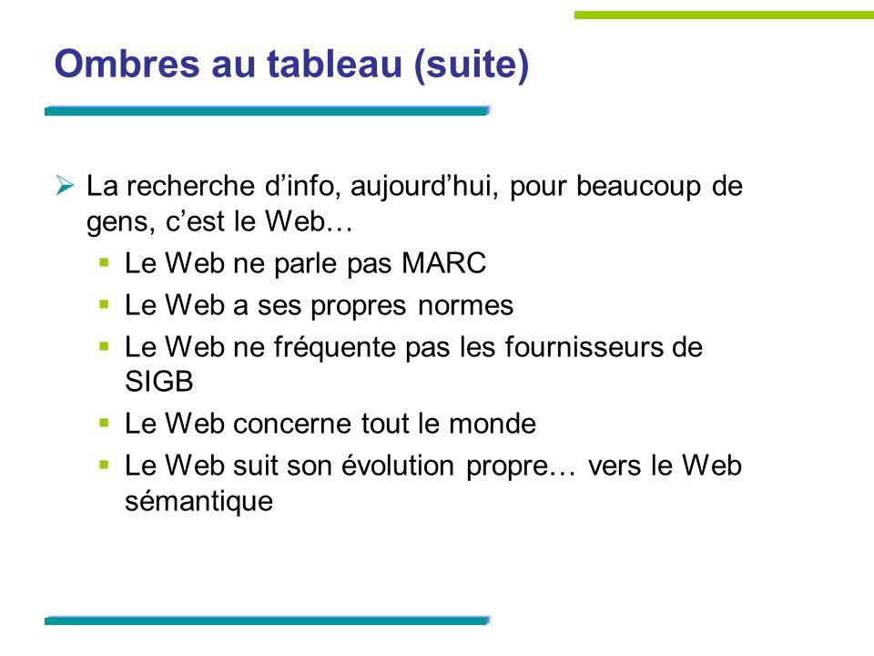 Ombres au tableau (suite) La recherche dinfo, aujourdhui, pour beaucoup de gens, cest le Web… Le Web ne parle pas MARC Le Web a ses propres normes Le