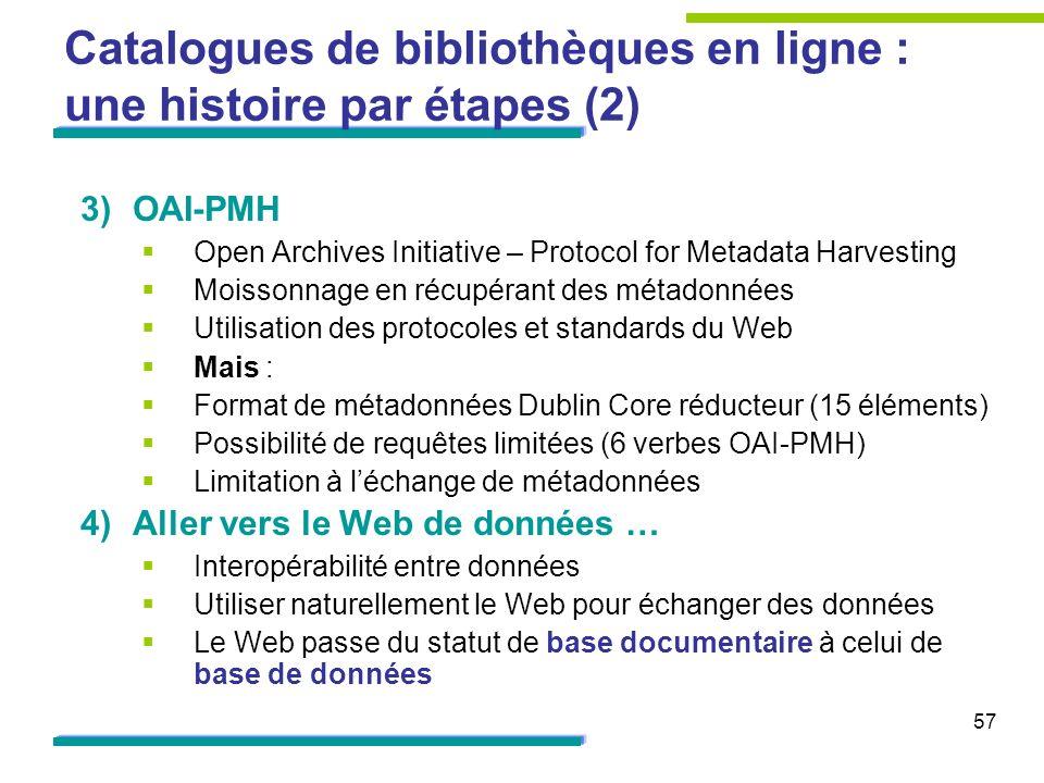 57 Catalogues de bibliothèques en ligne : une histoire par étapes (2) 3)OAI-PMH Open Archives Initiative – Protocol for Metadata Harvesting Moissonnag