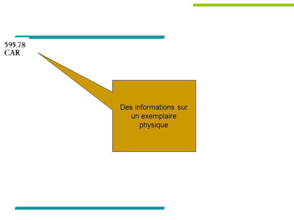 Des informations sur un exemplaire physique