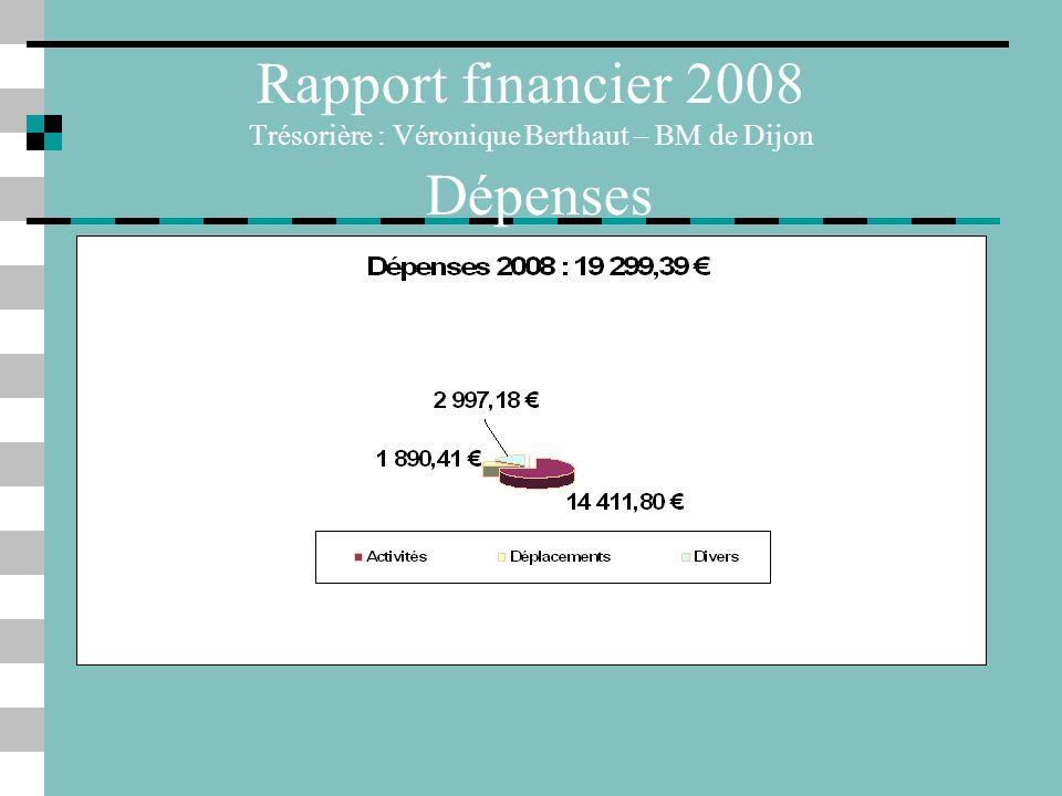 Rapport financier 2008 Trésorière : Véronique Berthaut – BM de Dijon Dépenses