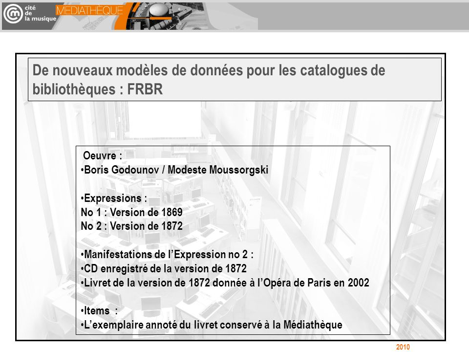 Oeuvre : Boris Godounov / Modeste Moussorgski Expressions : No 1 : Version de 1869 No 2 : Version de 1872 Manifestations de lExpression no 2 : CD enre