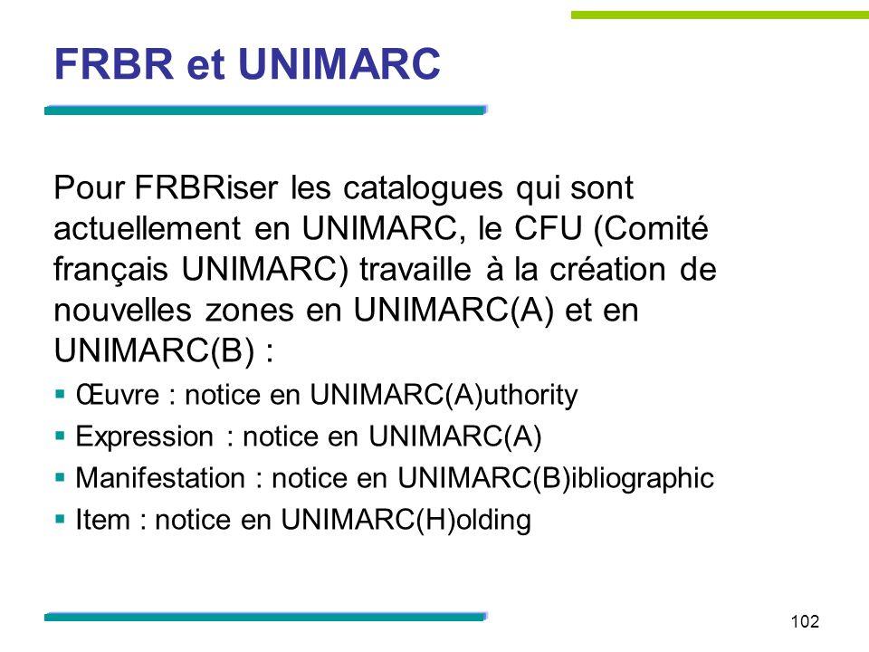 102 FRBR et UNIMARC Pour FRBRiser les catalogues qui sont actuellement en UNIMARC, le CFU (Comité français UNIMARC) travaille à la création de nouvell
