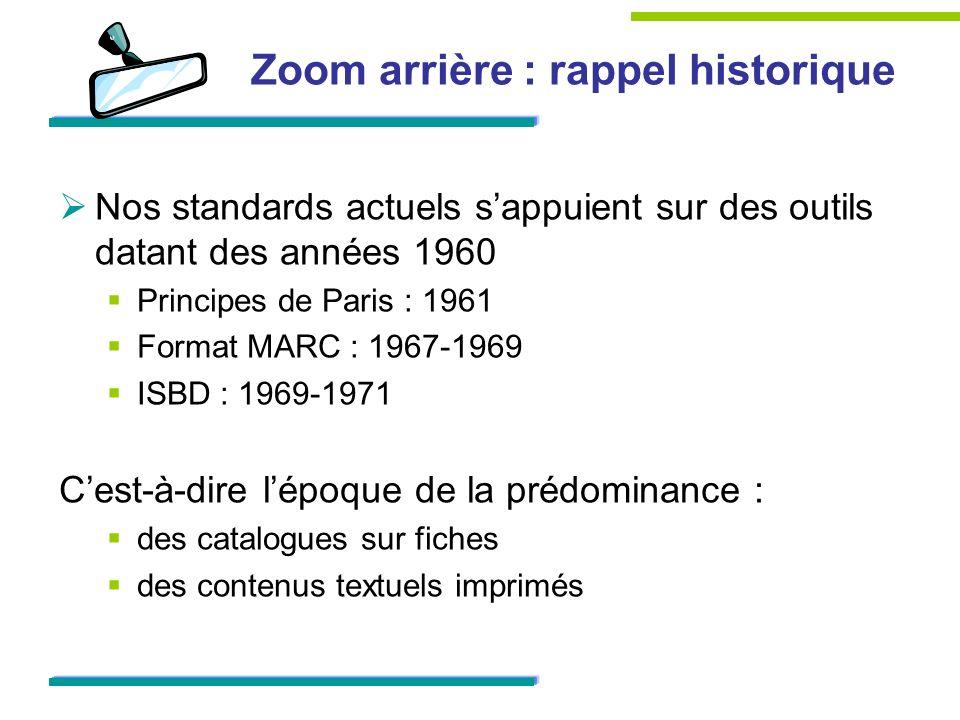 Zoom arrière : rappel historique Nos standards actuels sappuient sur des outils datant des années 1960 Principes de Paris : 1961 Format MARC : 1967-19