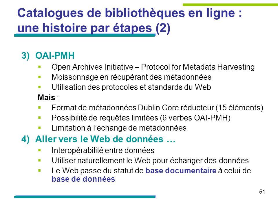 51 Catalogues de bibliothèques en ligne : une histoire par étapes (2) 3)OAI-PMH Open Archives Initiative – Protocol for Metadata Harvesting Moissonnag