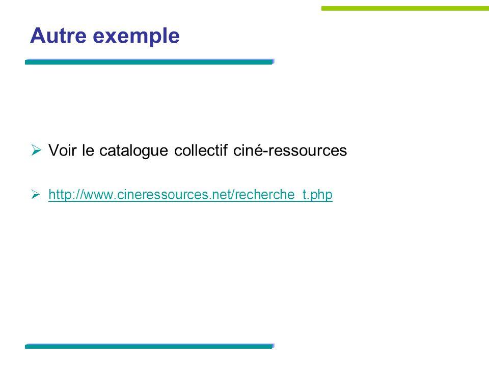 Autre exemple Voir le catalogue collectif ciné-ressources http://www.cineressources.net/recherche_t.php