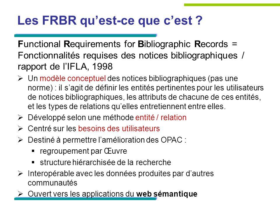 Les FRBR quest-ce que cest ? Functional Requirements for Bibliographic Records = Fonctionnalités requises des notices bibliographiques / rapport de lI