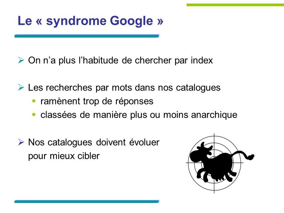 Le « syndrome Google » On na plus lhabitude de chercher par index Les recherches par mots dans nos catalogues ramènent trop de réponses classées de ma