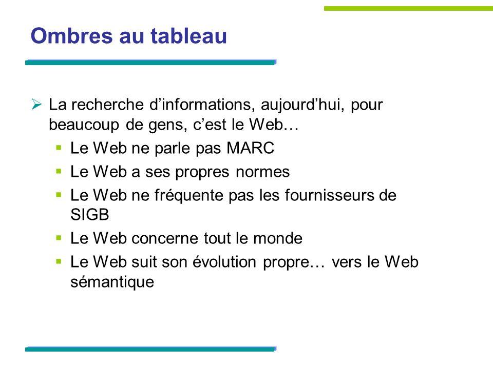 Ombres au tableau La recherche dinformations, aujourdhui, pour beaucoup de gens, cest le Web… Le Web ne parle pas MARC Le Web a ses propres normes Le