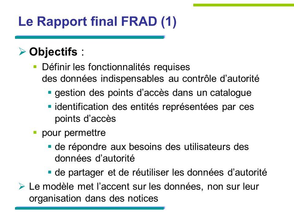 Le Rapport final FRAD (1) Objectifs : Définir les fonctionnalités requises des données indispensables au contrôle dautorité gestion des points daccès