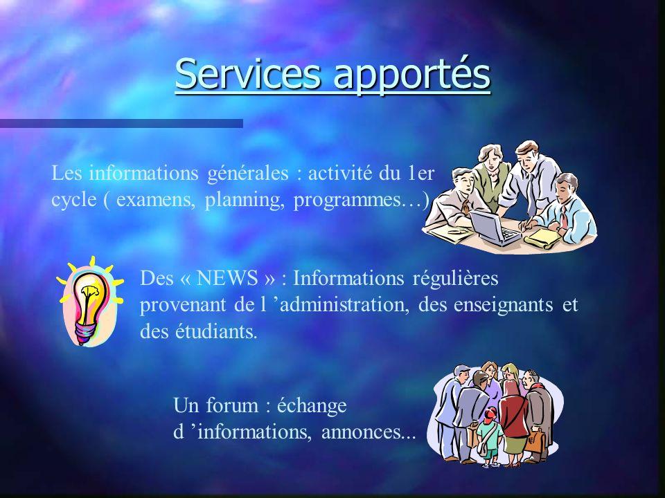 Services apportés Des « NEWS » : Informations régulières provenant de l administration, des enseignants et des étudiants. Les informations générales :
