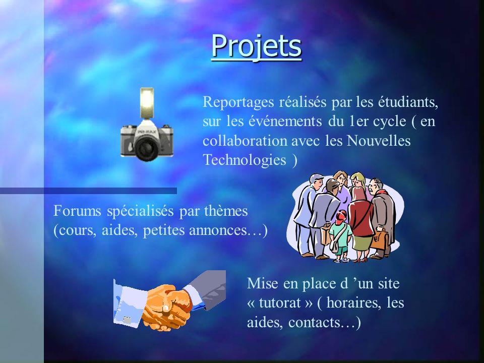 Projets Reportages réalisés par les étudiants, sur les événements du 1er cycle ( en collaboration avec les Nouvelles Technologies ) Forums spécialisés par thèmes (cours, aides, petites annonces…) Mise en place d un site « tutorat » ( horaires, les aides, contacts…)