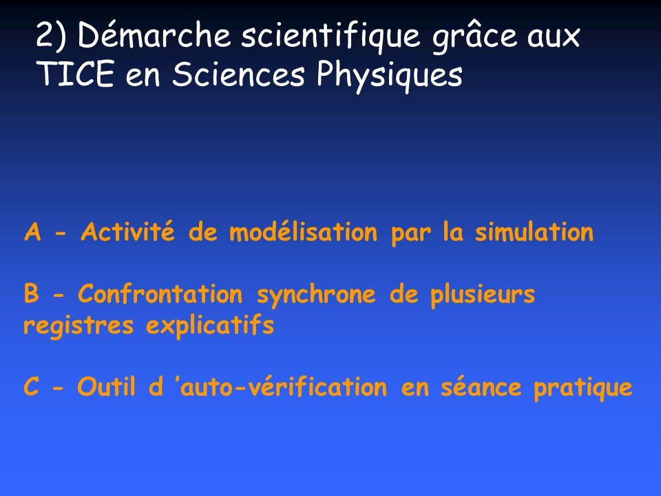 A - Activité de modélisation par la simulation B - Confrontation synchrone de plusieurs registres explicatifs C - Outil d auto-vérification en séance