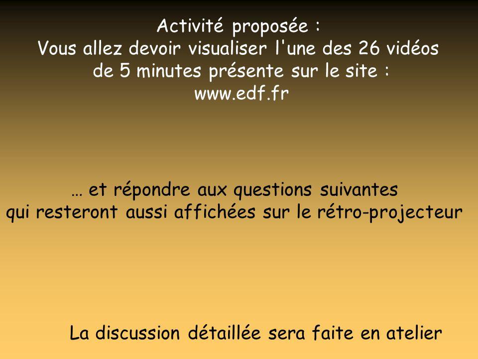 Activité proposée : Vous allez devoir visualiser l'une des 26 vidéos de 5 minutes présente sur le site : www.edf.fr … et répondre aux questions suivan