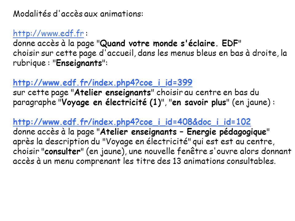 Modalités d'accès aux animations: http://www.edf.frhttp://www.edf.fr : donne accès à la page
