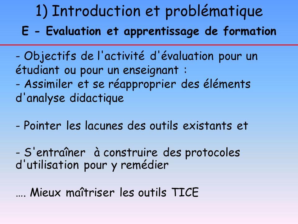 1) Introduction et problématique E - Evaluation et apprentissage de formation - Objectifs de l'activité d'évaluation pour un étudiant ou pour un ensei