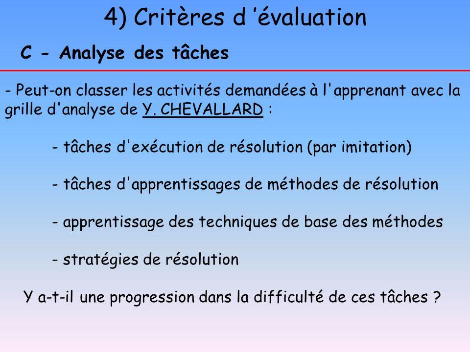 4) Critères d évaluation C - Analyse des tâches - Peut-on classer les activités demandées à l'apprenant avec la grille d'analyse de Y. CHEVALLARD :Y.
