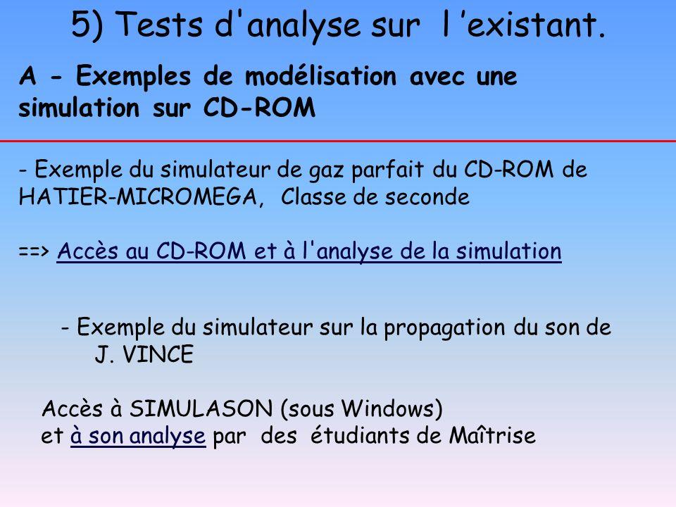 A - Exemples de modélisation avec une simulation sur CD-ROM - Exemple du simulateur de gaz parfait du CD-ROM de HATIER-MICROMEGA, Classe de seconde ==