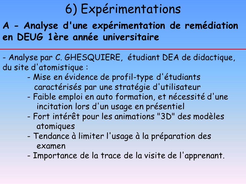 A - Analyse d'une expérimentation de remédiation en DEUG 1ère année universitaire - Analyse par C. GHESQUIERE, étudiant DEA de didactique, du site d'a