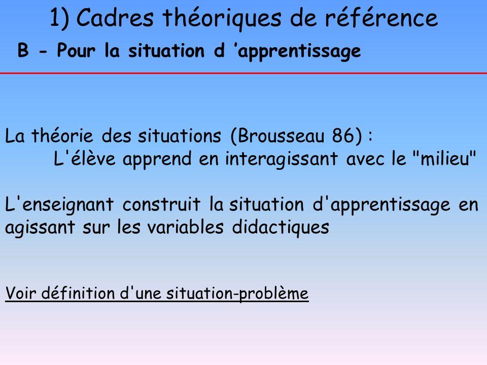 1) Cadres théoriques de référence B - Pour la situation d apprentissage La théorie des situations (Brousseau 86) : L'élève apprend en interagissant av
