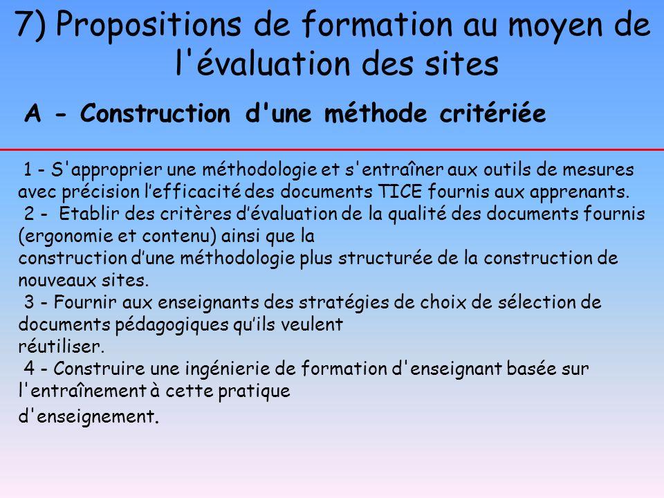 7) Propositions de formation au moyen de l'évaluation des sites A - Construction d'une méthode critériée 1 - S'approprier une méthodologie et s'entraî