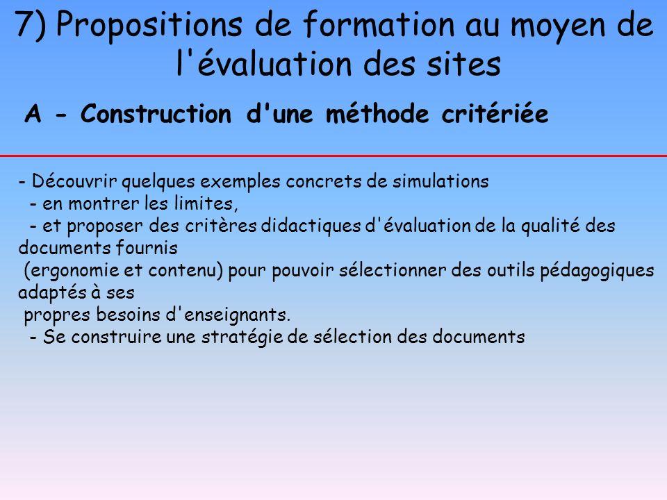 7) Propositions de formation au moyen de l'évaluation des sites A - Construction d'une méthode critériée - Découvrir quelques exemples concrets de sim