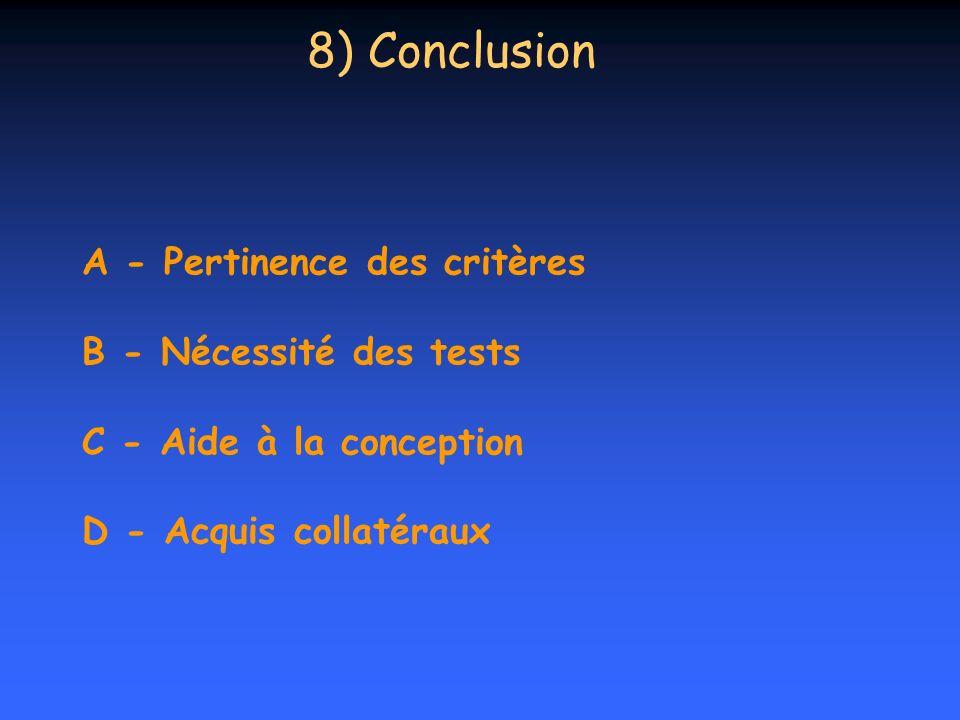 A - Pertinence des critères B - Nécessité des tests C - Aide à la conception D - Acquis collatéraux 8) Conclusion