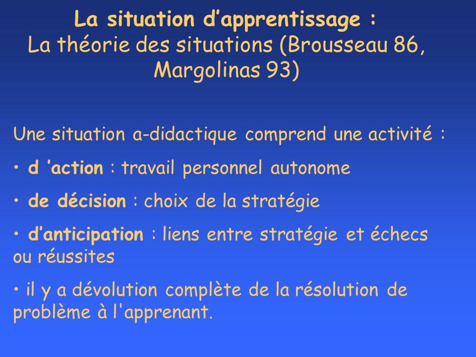 La situation dapprentissage : La théorie des situations (Brousseau 86, Margolinas 93) Une situation a-didactique comprend une activité : d action : tr