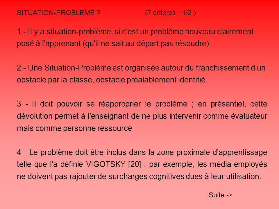 SITUATION-PROBLEME ? (7 critères : 1/2 ) 1 - Il y a situation-problème, si c'est un problème nouveau clairement posé à l'apprenant (qu'il ne sait au d