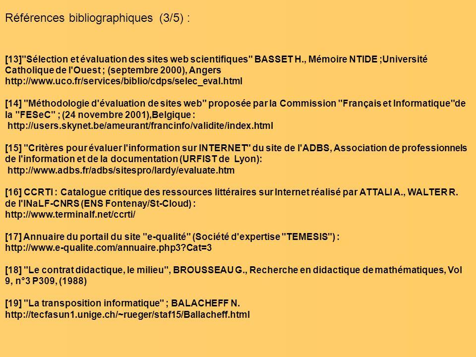 Références bibliographiques (3/5) : [13]