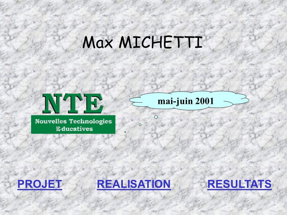 Max MICHETTI mai-juin 2001 PROJETREALISATIONRESULTATS