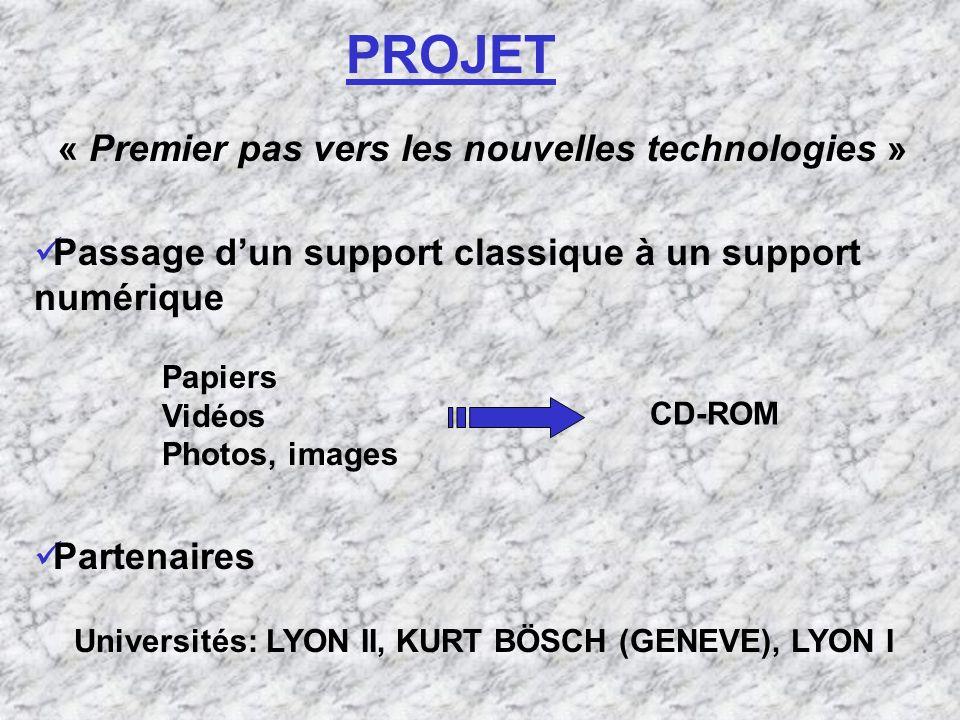 PROJET Passage dun support classique à un support numérique « Premier pas vers les nouvelles technologies » Universités: LYON II, KURT BÖSCH (GENEVE), LYON I Papiers Vidéos Photos, images CD-ROM Partenaires