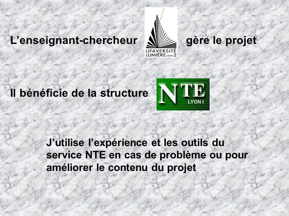 Jutilise lexpérience et les outils du service NTE en cas de problème ou pour améliorer le contenu du projet Il bénéficie de la structure Lenseignant-chercheurgère le projet