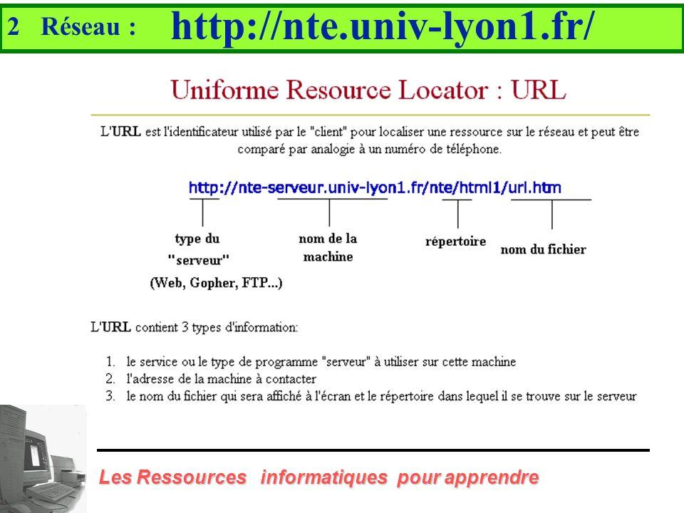 2 Réseau : Internet Les Ressources informatiques pour apprendre... offrant un ensemble de services Messagerie électronique Les forums de discussions F