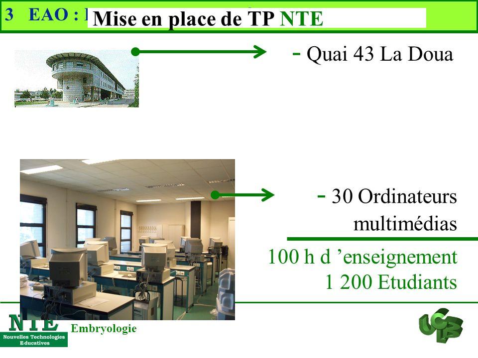 3 EAO : Enseignement Assisté par Ordinateur Problématiques pédagogiques Embryologie - Rendre les TP plus attractifs - Mettre à disposition plus de doc
