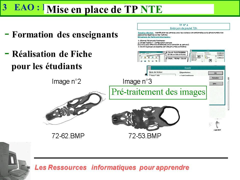 3 EAO : Enseignement Assisté par Ordinateur Mise en place de TP NTE Embryologie - Quai 43 La Doua - 30 Ordinateurs multimédias 100 h d enseignement 1