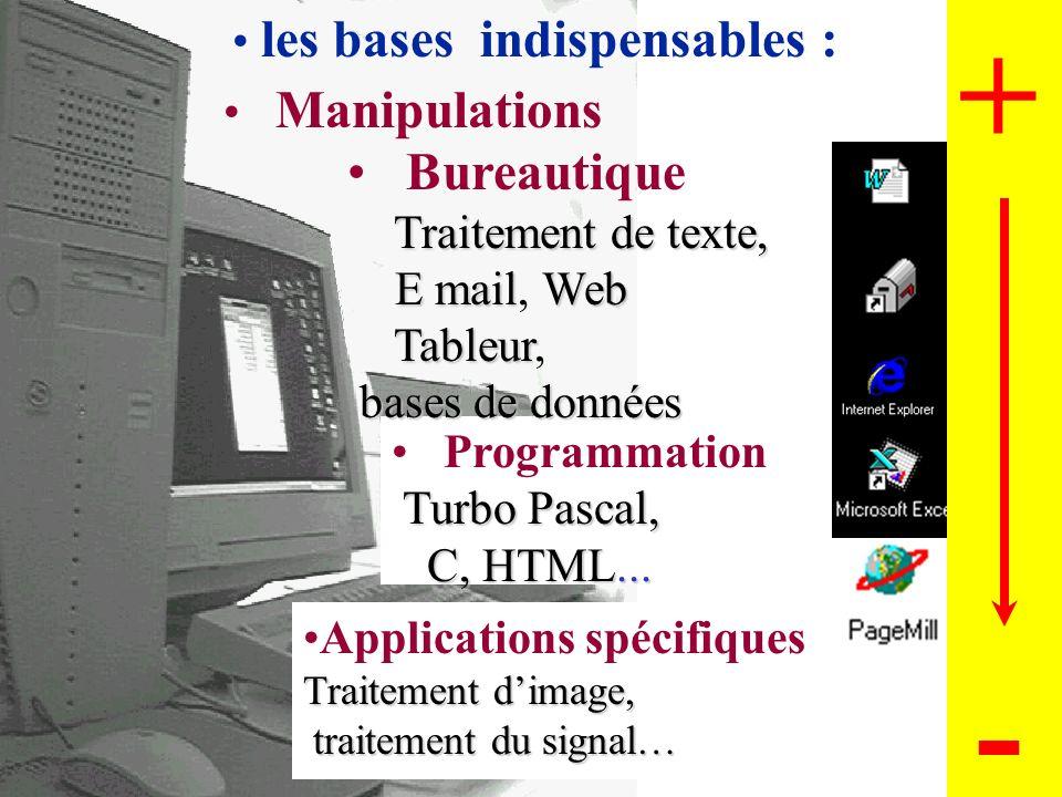 5 Les ressources informatiques pour les étudiants Programmation Bureautique Applications spécifiques 2 Réseaux Partage de ressource Internet 3 EAO : E