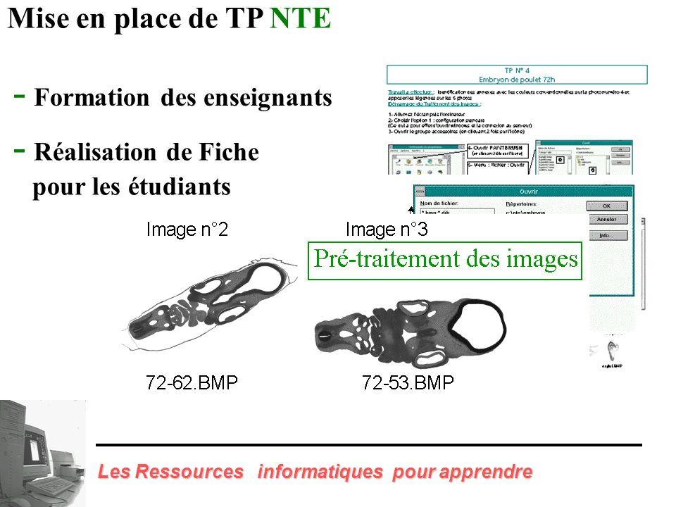 Mise en place de TP NTE Embryologie - Quai 43 La Doua - Salles NTE - 30 Ordinateurs multimédias 100 h d enseignement 1 200 Etudiants