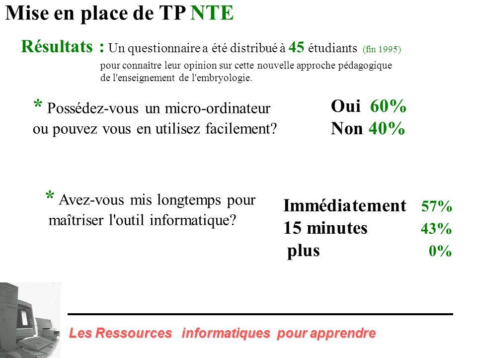 Mise en place de TP NTE - Réalisation de Fiche pour les étudiants - Formation des enseignants Les Ressources informatiques pour apprendre