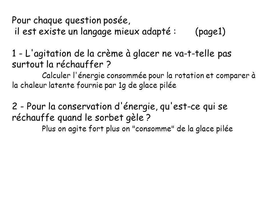 Pour chaque question posée, il est existe un langage mieux adapté : (page1) 1 - L'agitation de la crème à glacer ne va-t-telle pas surtout la réchauff