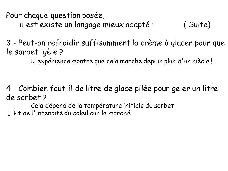 Pour chaque question posée, il est existe un langage mieux adapté : ( Suite) 3 - Peut-on refroidir suffisamment la crème à glacer pour que le sorbet g