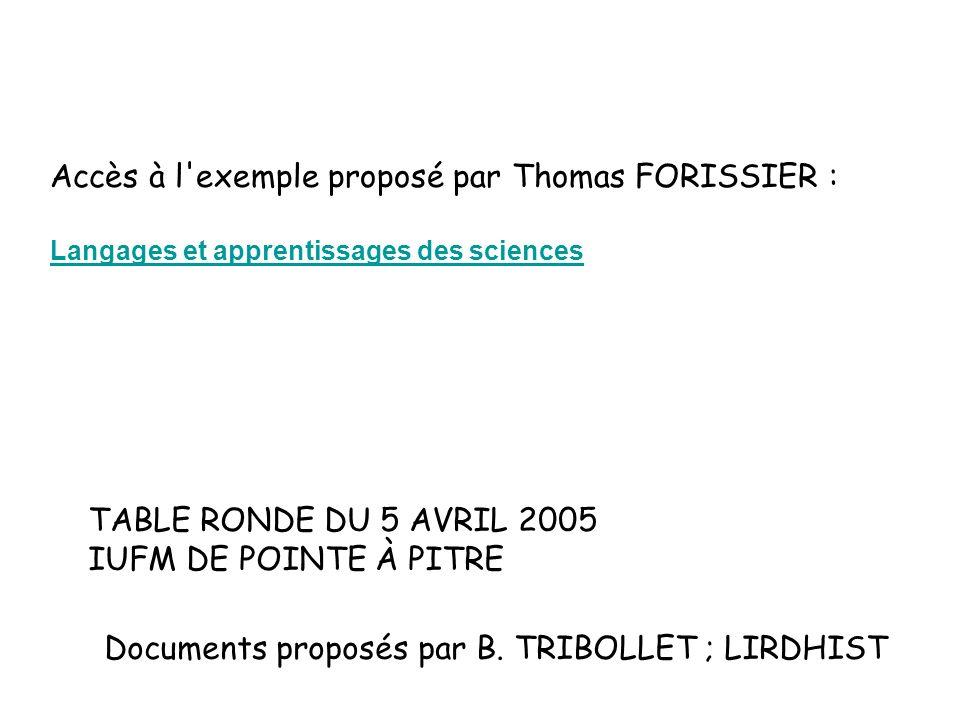 Accès à l'exemple proposé par Thomas FORISSIER : Langages et apprentissages des sciences Documents proposés par B. TRIBOLLET ; LIRDHIST TABLE RONDE DU