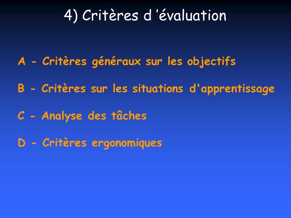 A - Critères généraux sur les objectifs B - Critères sur les situations d'apprentissage C - Analyse des tâches D - Critères ergonomiques 4) Critères d