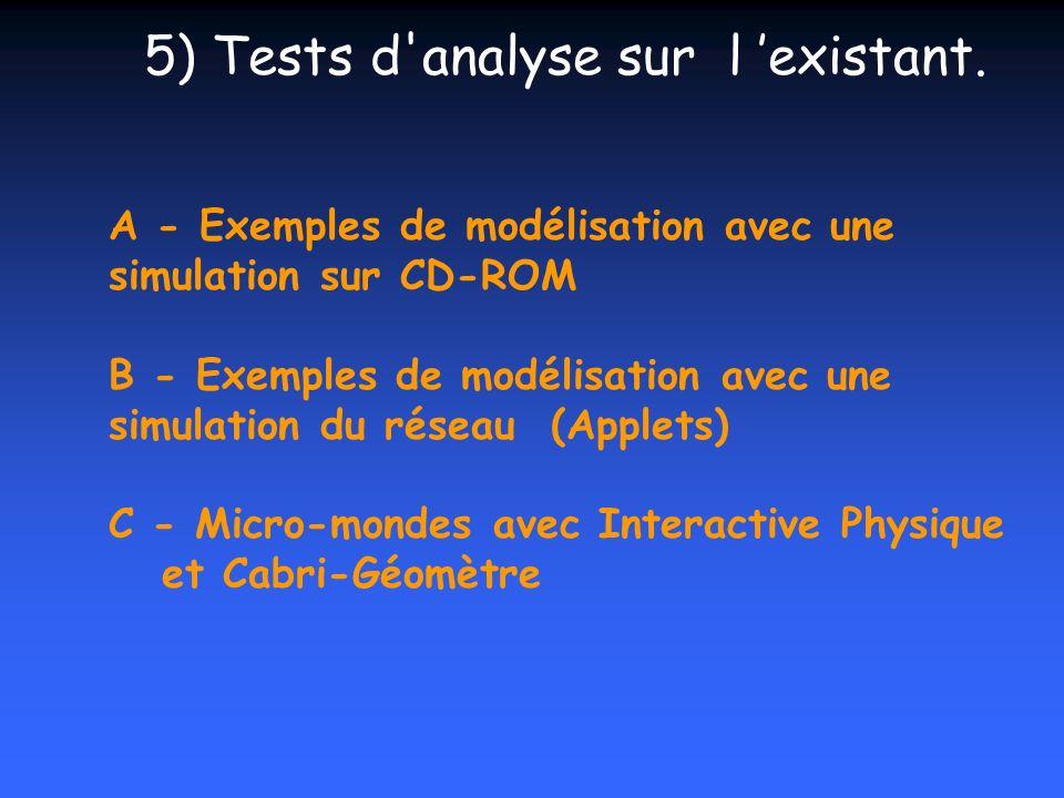 A - Exemples de modélisation avec une simulation sur CD-ROM B - Exemples de modélisation avec une simulation du réseau (Applets) C - Micro-mondes avec